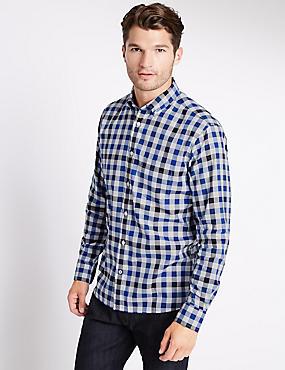 Big & Tall Pure Cotton Checked Shirt, NAVY, catlanding