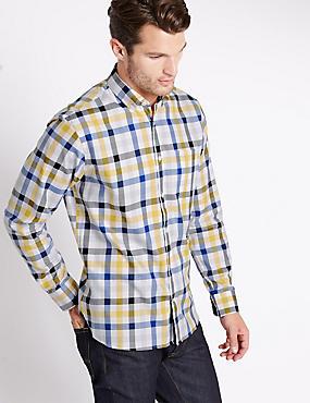 Big & Tall Pure Cotton Checked Shirt, LIGHT GOLD, catlanding