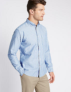 Big & Tall Pure Cotton Striped Shirt , BLUE, catlanding