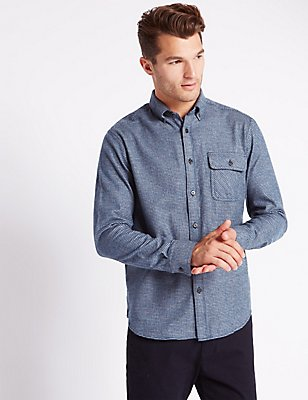 Pure Cotton Checked Shirt with Pocket, NAVY, catlanding