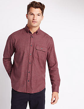 Pure Cotton Checked Shirt with Pocket, CLARET, catlanding