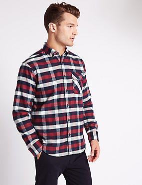 Big & Tall Pure Cotton Checked Shirt, CLARET, catlanding
