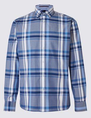 Рубашка из чистого хлопка в крупную клетку в синей гамме Blue Harbour T255692B