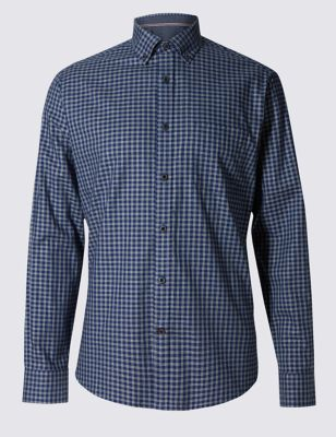 Слегка приталенная рубашка из чистого хлопка в клетку грид Blue Harbour T255694B
