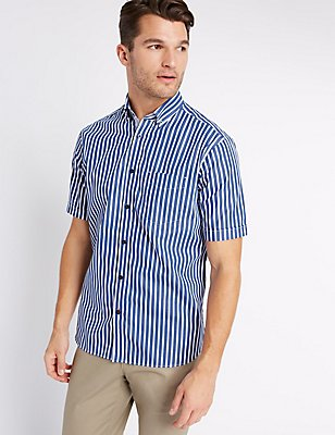 Pure Cotton Striped Shirt with Pocket , NAVY, catlanding