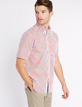 Pure Cotton Striped Shirt with Pocket , POPPY, catlanding