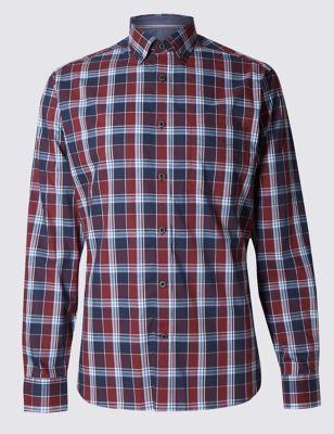 Рубашка из премиального хлопка в крупную цветную клетку Blue Harbour T255697B