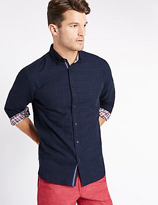 Pure Cotton Checked Shirt, NAVY, catlanding