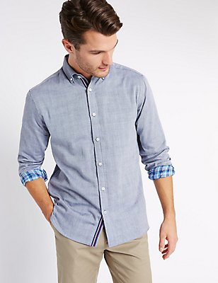 Pure Cotton Checked Shirt, CHAMBRAY, catlanding
