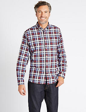 Luxury Pure Cotton Checked Shirt , CRANBERRY, catlanding