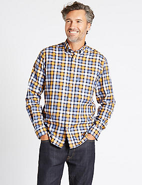 Pure Cotton Checked Shirt with Pocket, SUNFLOWER, catlanding