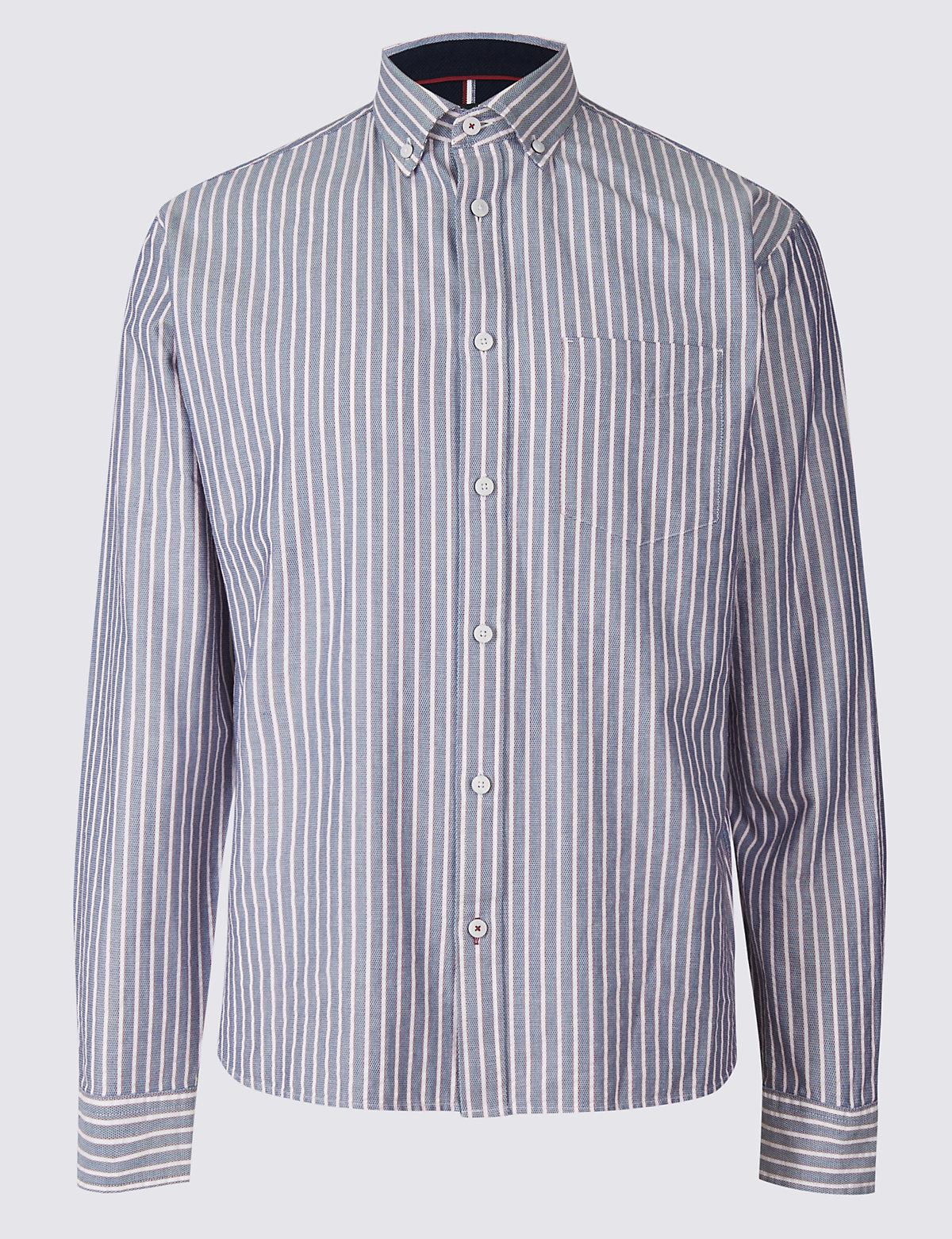 Рубашка мужская на пуговицах с длинным рукавом