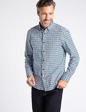 Luxury Brushed Cotton Checked Shirt, NAVY MIX, catlanding