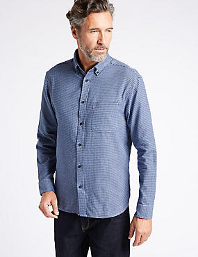 Luxury Brushed Cotton Checked Shirt, BRIGHT BLUE, catlanding