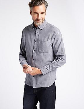Chemise 100% coton à carreaux avec poche, GRIS ASSORTI, catlanding