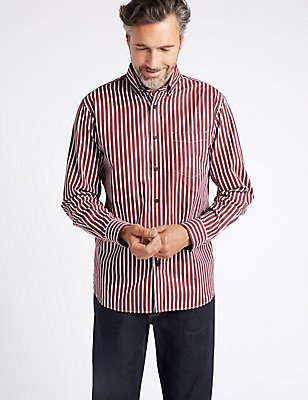 Pure Cotton Striped Shirt with Pocket, BURGUNDY MIX, catlanding
