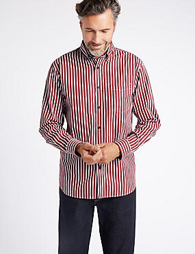 Luxury Pure  Cotton Striped Shirt , BURGUNDY MIX, catlanding