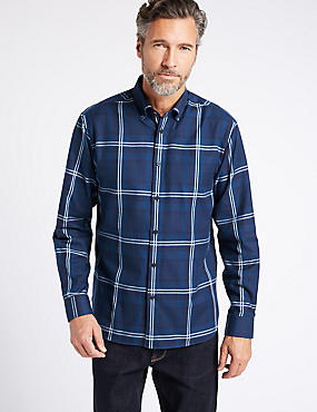 Luxury Brushed Cotton  Checked Shirt, NAVY, catlanding