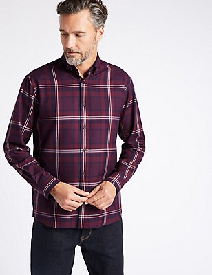 Luxury Brushed Cotton  Checked Shirt, BURGUNDY, catlanding