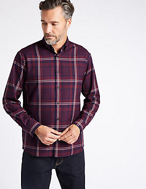 Luxury Brushed Cotton  Checked Shirt, BURGUNDY, catlanding