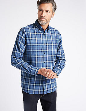 Luxury Brushed  Checked Shirt , BLUE, catlanding