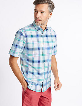 Pure Cotton Checked Shirt with Pocket, LIGHT AQUA, catlanding