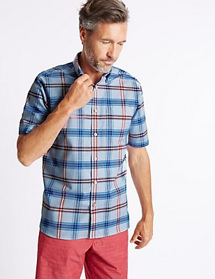 Pure Cotton Checked Shirt with Pocket, CHAMBRAY MIX, catlanding