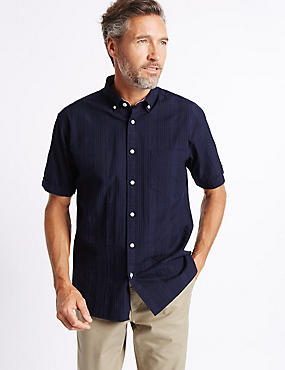 Pure Cotton Textured Shirt with Pocket, NAVY, catlanding