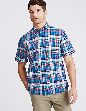 Pure Cotton Checked Shirt with Pocket, MULTI, catlanding