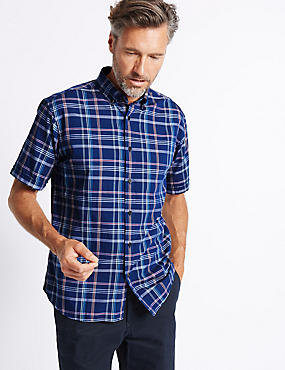Pure Cotton Checked Oxford Shirt, NAVY MIX, catlanding