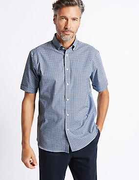 Cotton Rich Checked Shirt , BLUE MIX, catlanding