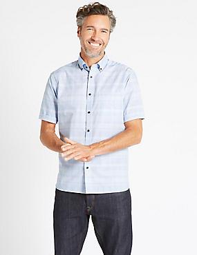 Chemise 100% coton à carreaux avec poche, BLEU ASSORTI, catlanding