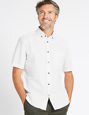 Pure Cotton Checked Shirt with Pocket, WHITE, catlanding