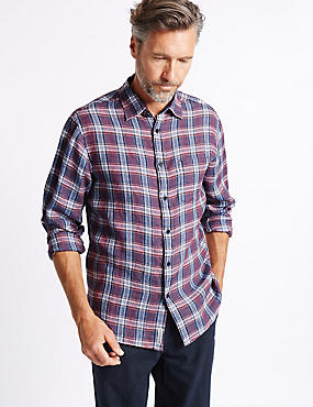 Pure Linen Checked Shirt with Pocket, RED MIX, catlanding