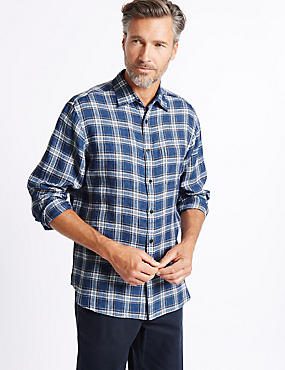 Pure Linen Checked Shirt with Pocket, BLUE MIX, catlanding