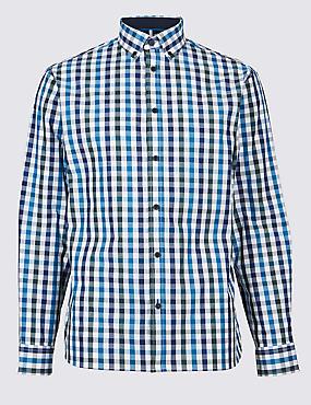Pure Cotton Checked Shirt, BLUE MIX, catlanding