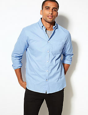 Pure Cotton Shirt with Pocket, BRIGHT BLUE, catlanding