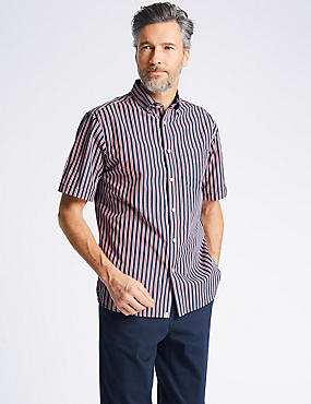 Pure Cotton Striped Shirt with Pocket, CHERRY RED, catlanding