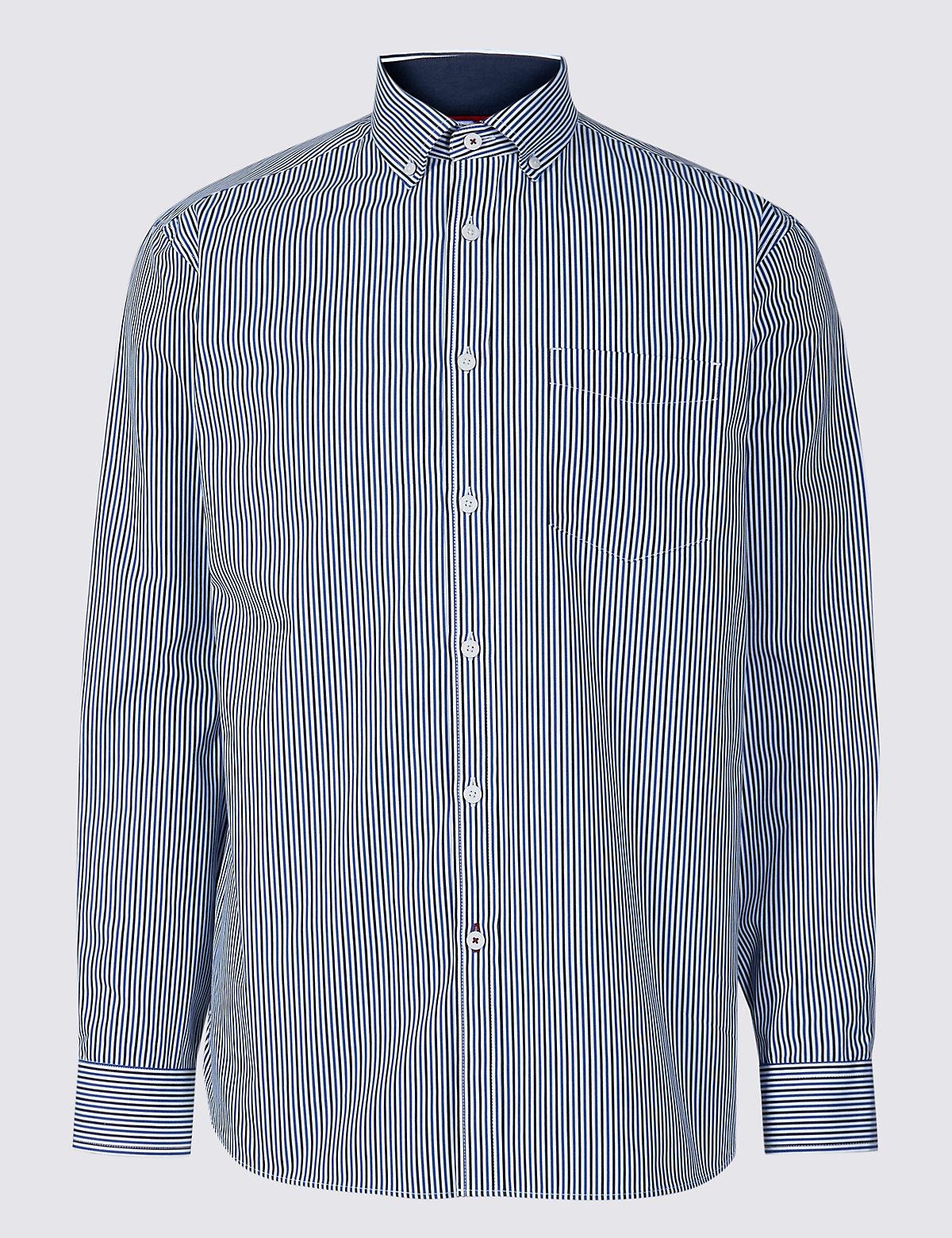 Рубашка из 100% хлопка с карманом, в полоску
