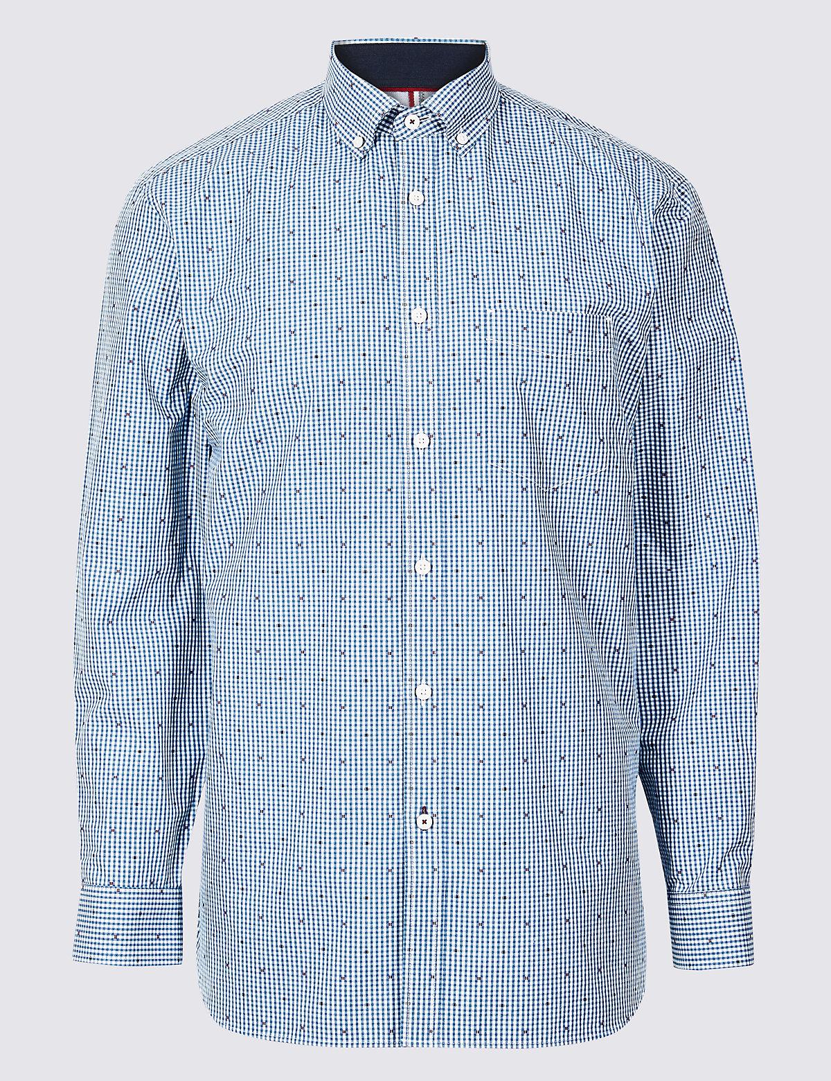 Рубашка из 100%  хлопка с карманом в клетку