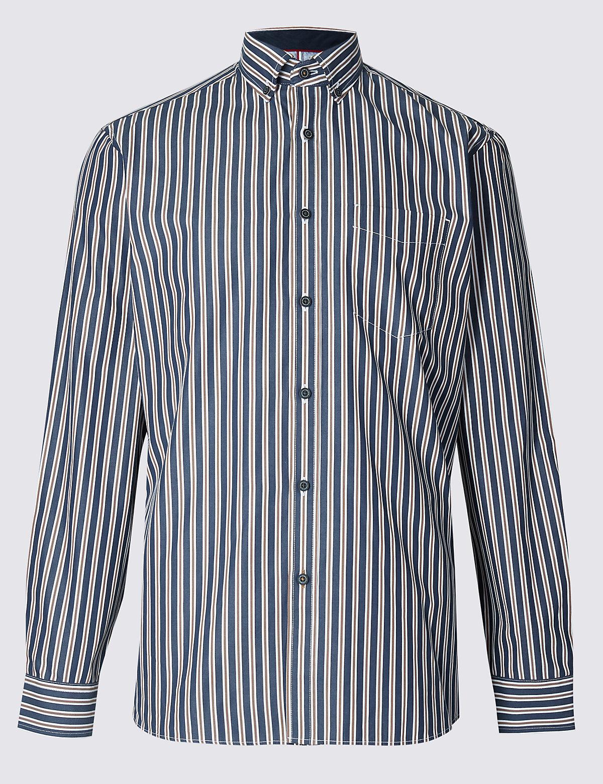 Рубашка из 100% хлопка с нагрудным карманом, в полоску