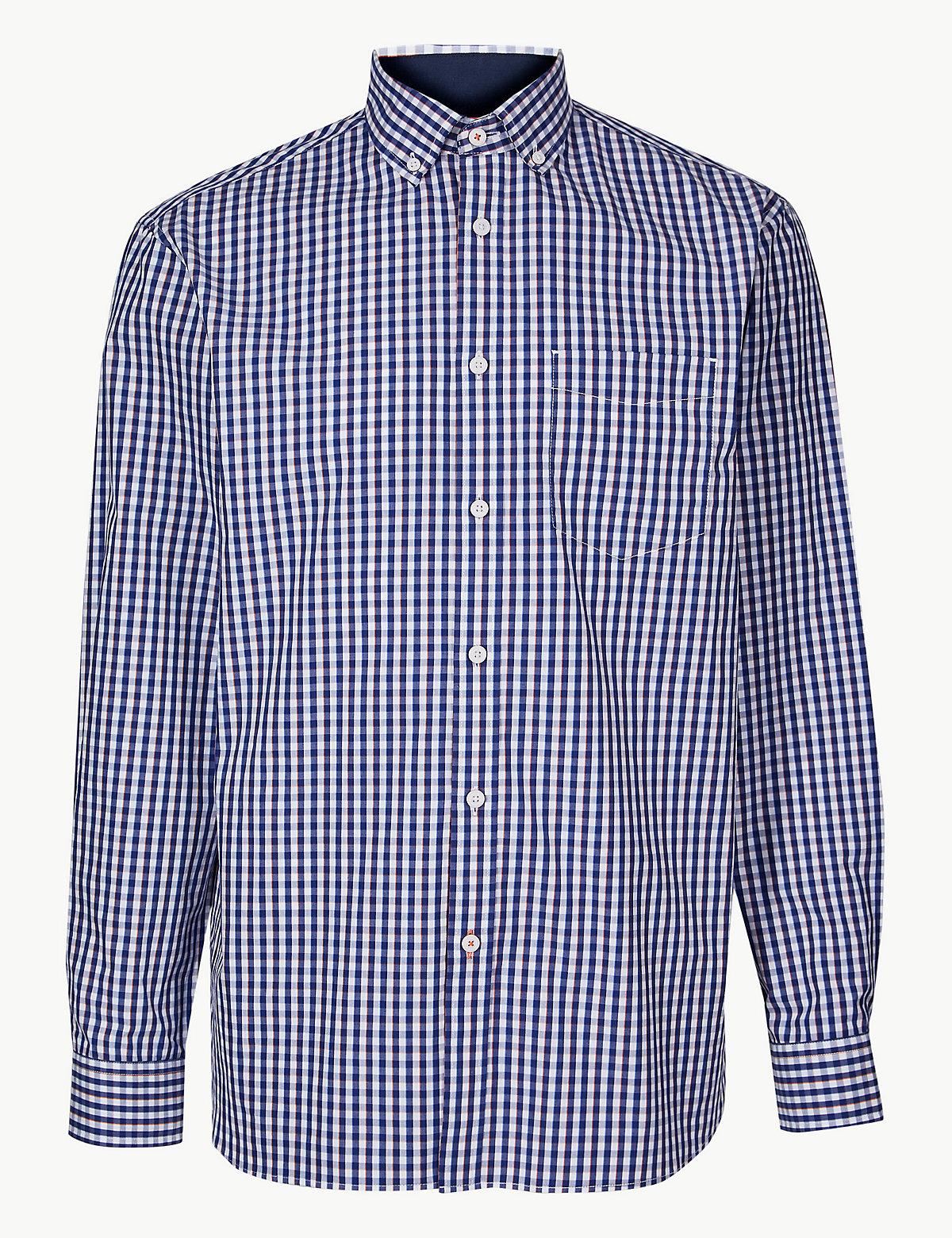 Рубашка свободного кроя из 100%-го хлопка с длинным рукавом