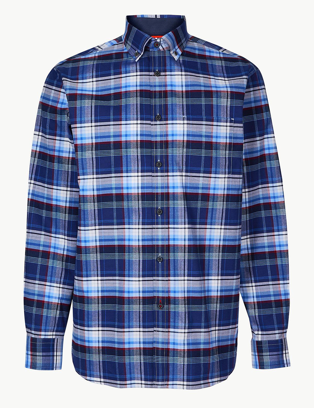 Рубашка в клетку с длинным рукавом и карманом