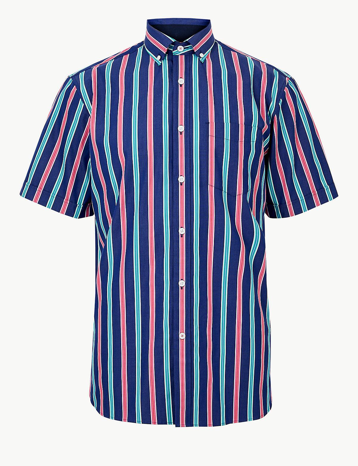 Мужская рубашка в крупную цветную полоску