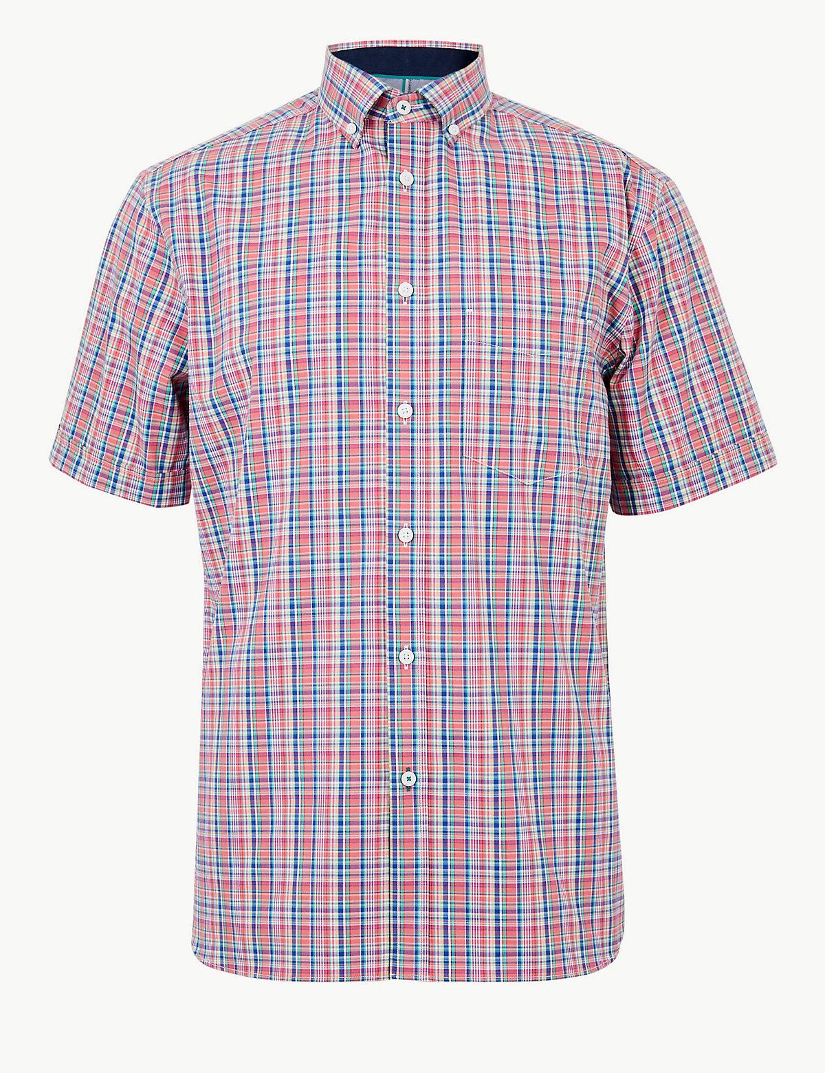 Мужская рубашка в мелкую цветную клетку