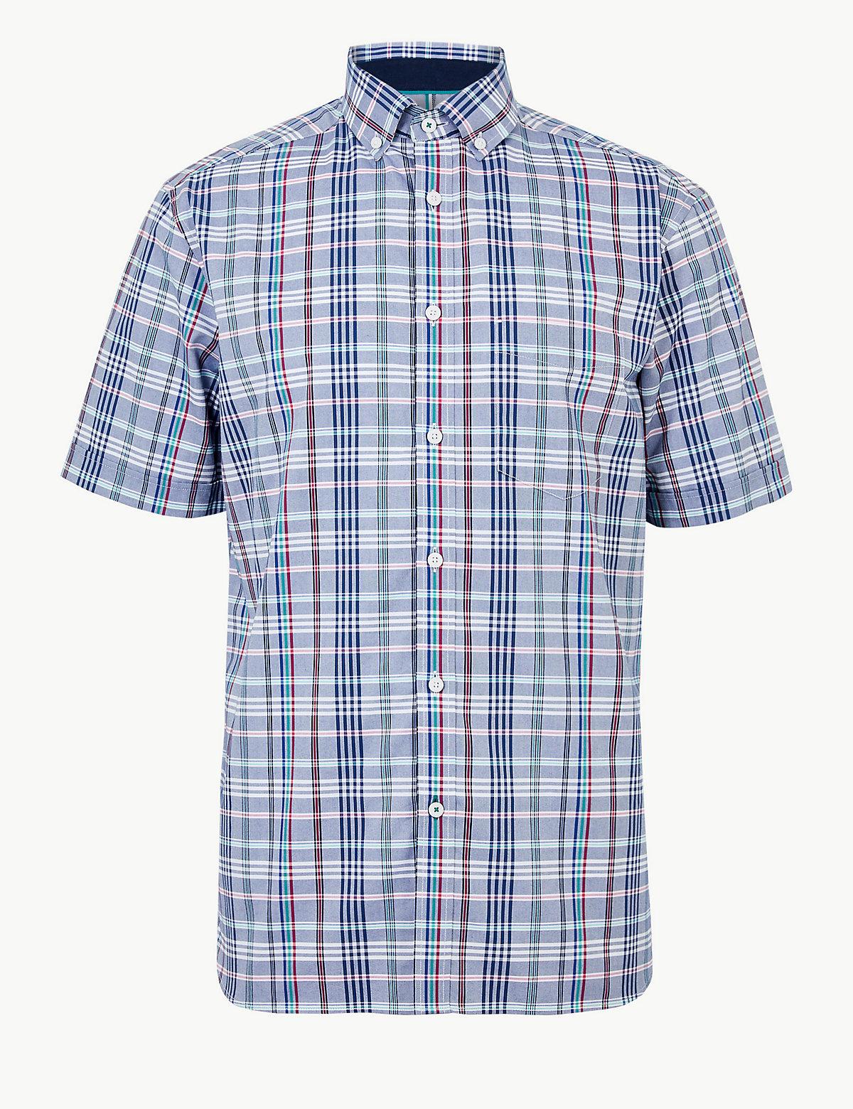 Мужская хлопковая рубашка в мелкую клетку