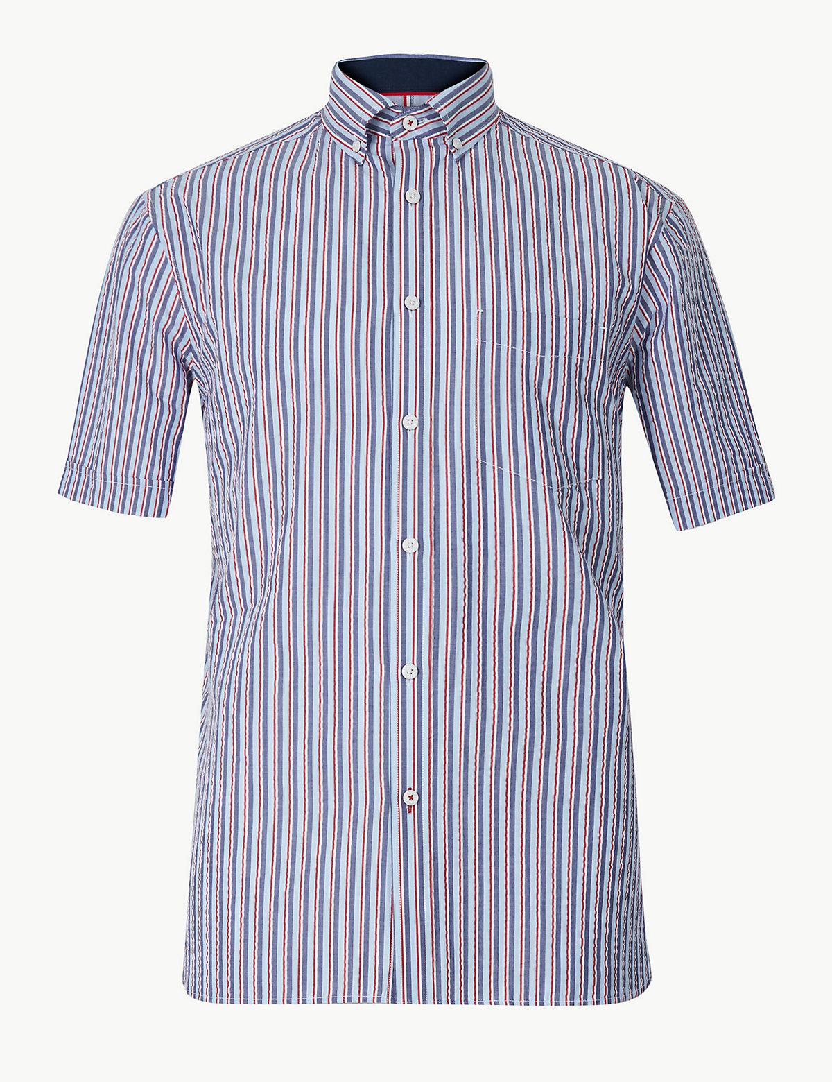 Рубашка с коротким рукавом из 100%-го чистого хлопка в полоску