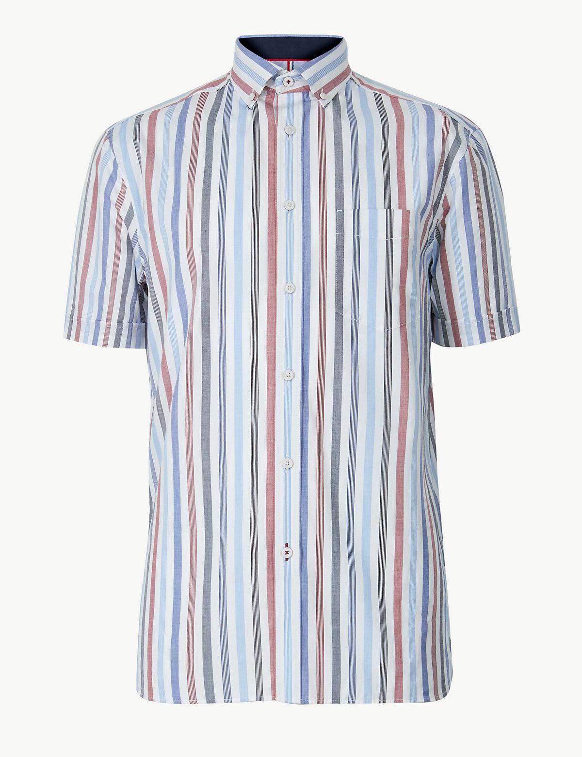 Хлопковая рубашка в полоску с коротким рукавом