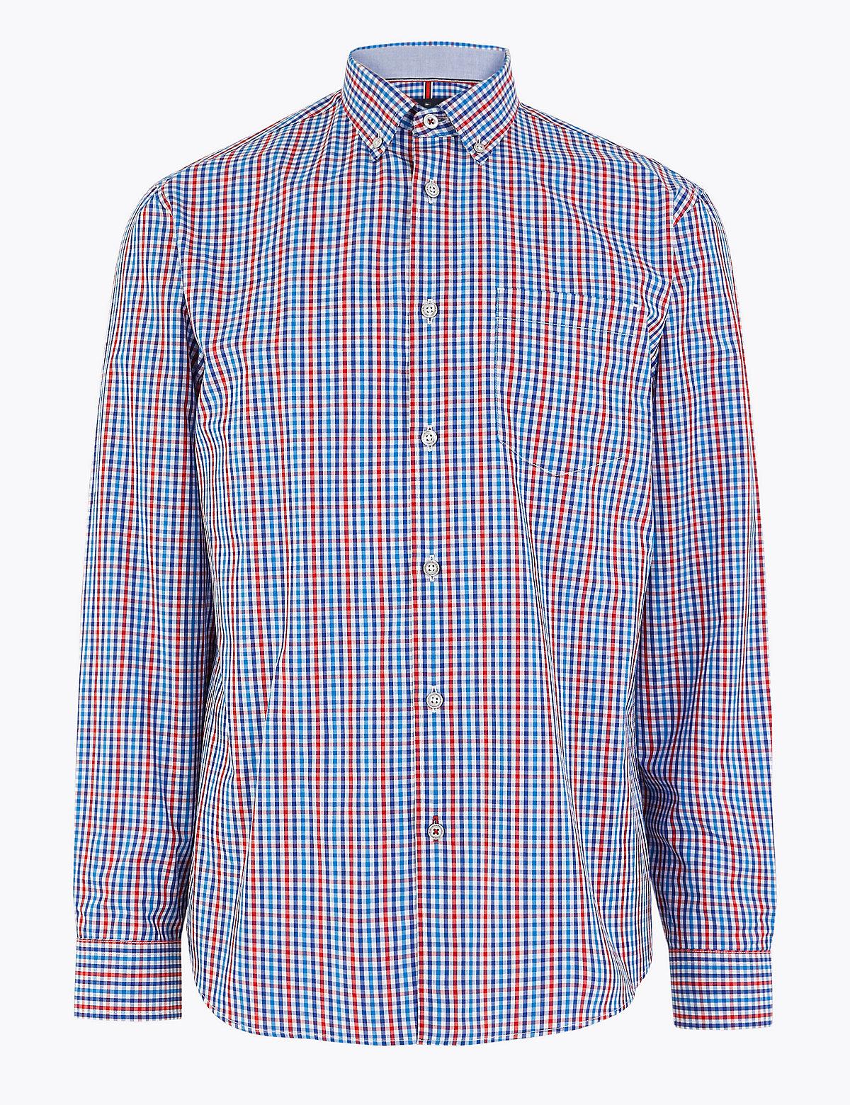 Хлопковая мужская рубашка в яркую клеточку