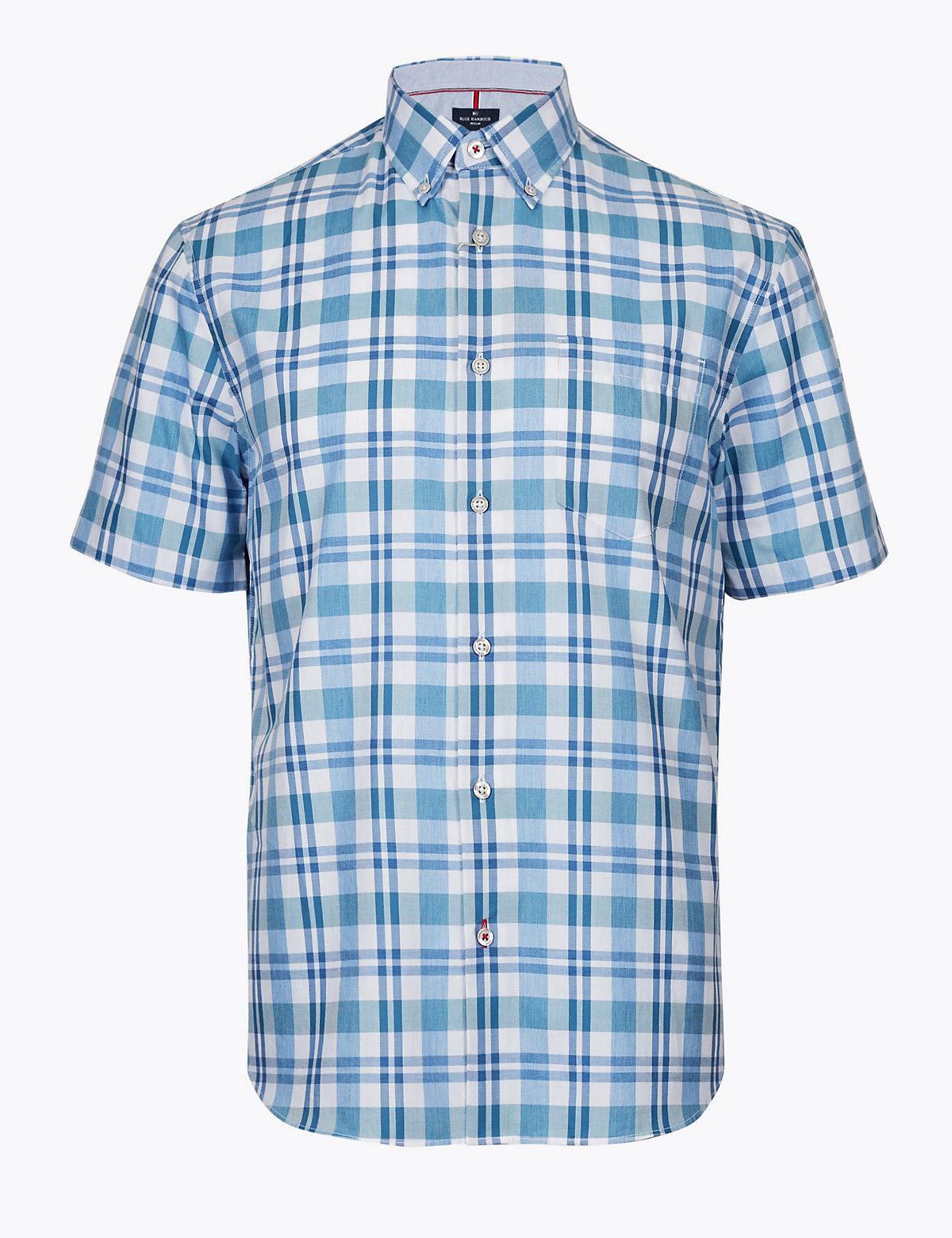 Мужская хлопковая рубашка с длинным рукавом